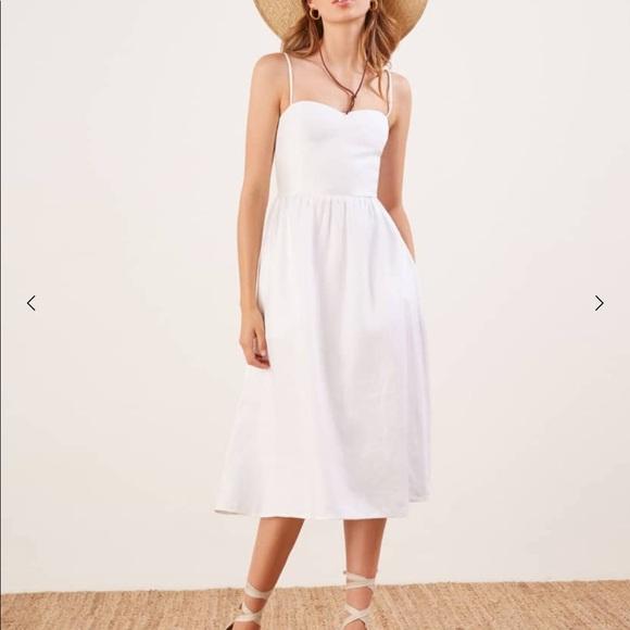 00c0dcf337b Reformation Olivia White Linen Midi Dress